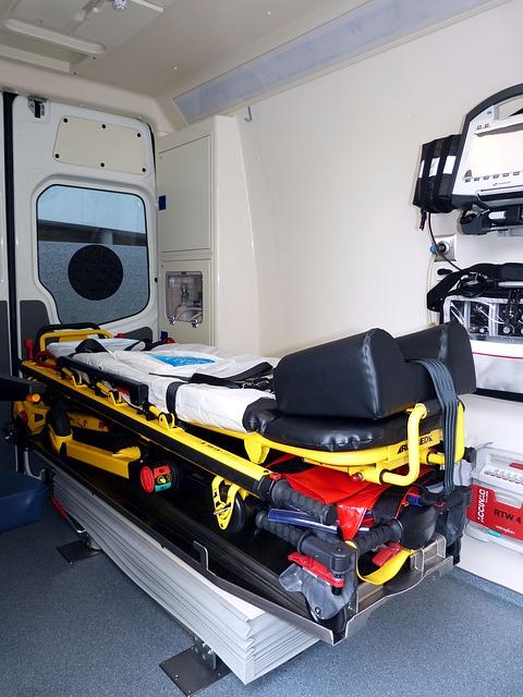 Unfall Notarztfahrzeug innen